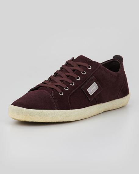Suede Low-Top Sneaker, Burgundy