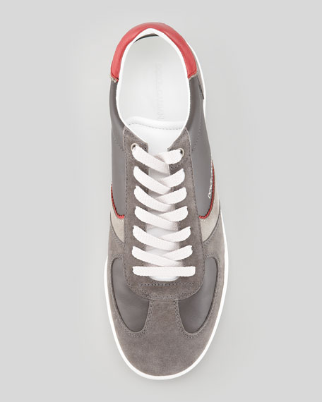 Leather/Suede Low-Top Sneaker, White