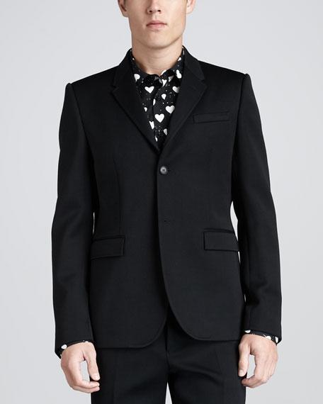 Two-Button Wool Blazer, Black