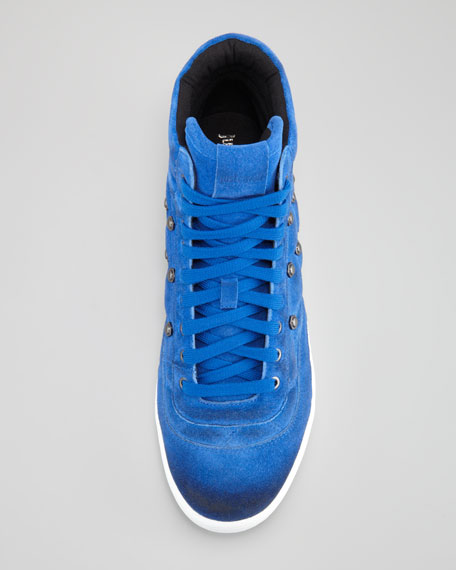 Quilted Suede High-Top Sneaker, Cobalt