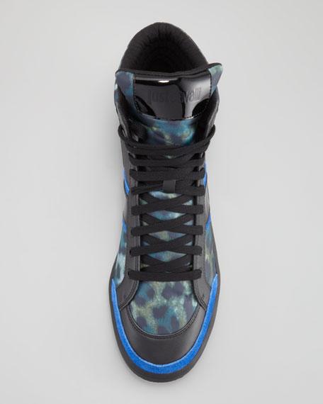 Leopard-Print Hi-Top Sneaker, Blue