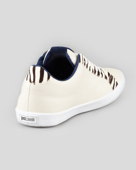 Leather Sneaker with Zebra-Print Calf-Hair Trim, White