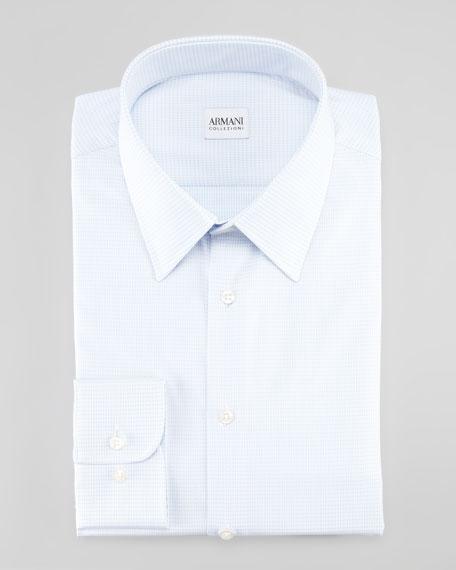 Micro-Check Dress Shirt, Blue/White