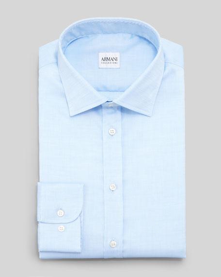 Textured Modern-Fit Dress Shirt, Light Blue