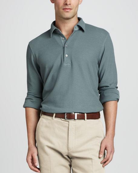 Long-Sleeve Pique Polo, Blue