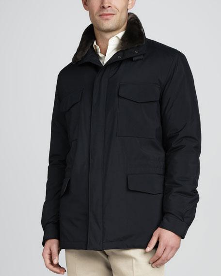 Traveler Jacket with Fur Collar, Navy