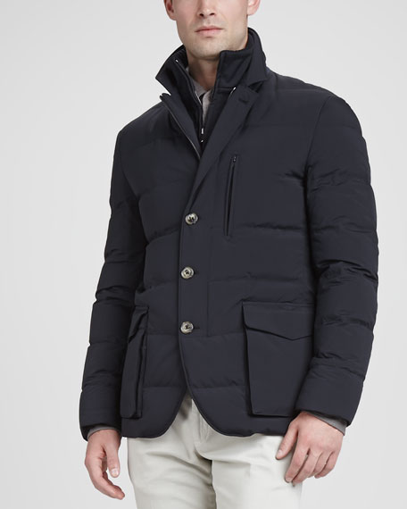 Wind Stretch Storm System Puffer Jacket, Navy