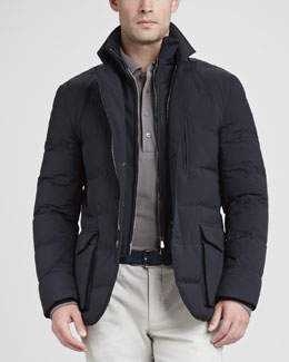 Loro Piana Wind Stretch Storm System Puffer Jacket, Navy