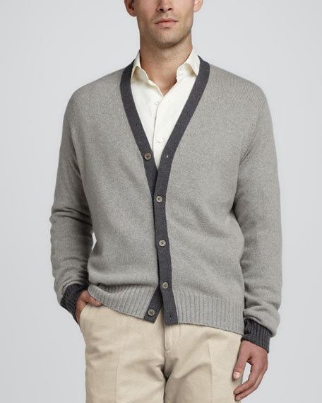 Seamless Cashmere Cardigan, Gray/Blue