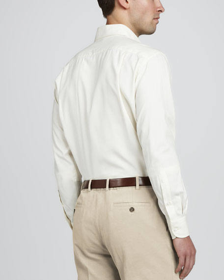 Alain Long-Sleeve Woven-Silk Shirt, Nougat