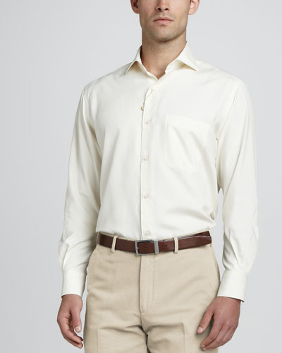 Loro Piana Alain Long-Sleeve Woven-Silk Shirt, Nougat