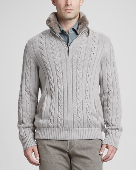 Whelk Sea Fur-Collar Cable-Knit Sweater, Gray