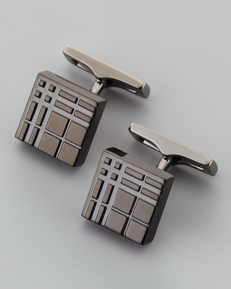 Embossed Check Cuff Links, Black