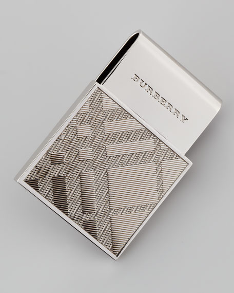 Textured Check Money Clip, Silver