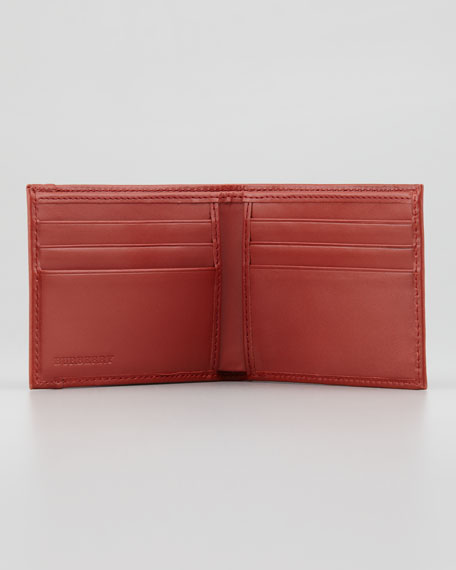 Contrast-Trim Check Wallet, Bright Tortoise