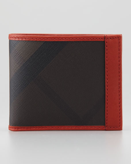 Contrast-Trim Check Wallet, Bright Tortoise