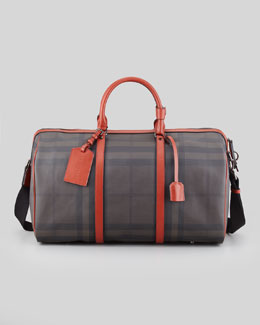 Burberry Men's Coated Check Duffel Bag, Gray/Rust