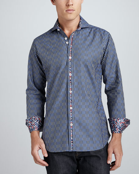 David Jacquard Sport Shirt, Navy Blue