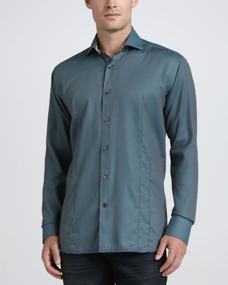 Victor Long-Sleeve Jacquard Sport Shirt, Turquoise