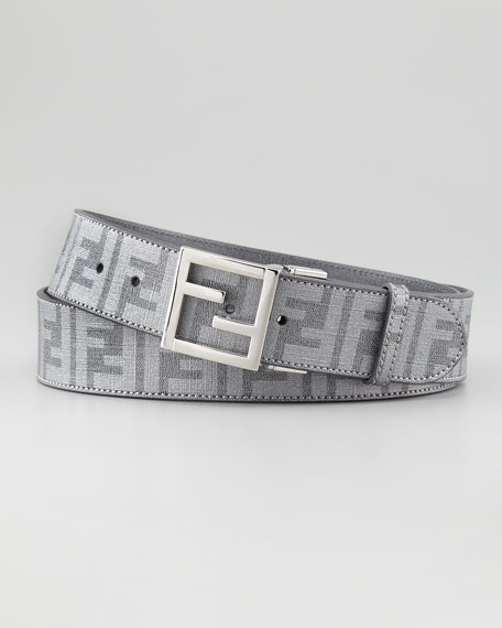 Reversible Zucca-Print Logo-Buckle Belt, Silver