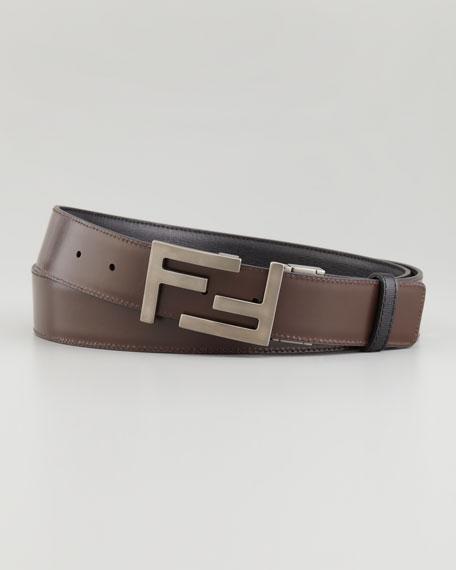 Reversible FF-Buckle Belt, Bordeaux