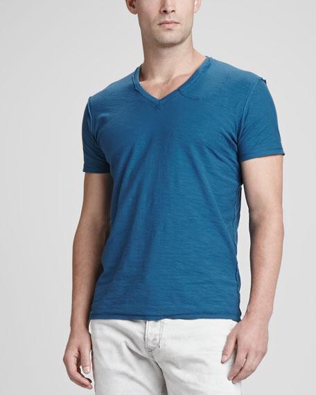 Short-Sleeve V-Neck Slub Tee, Blue Wool