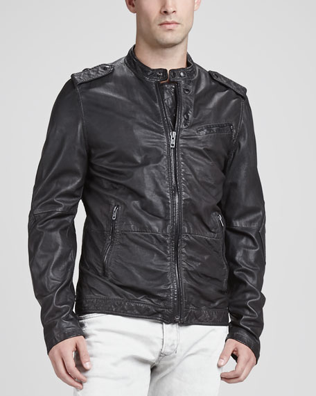 Spray-Dyed Leather Jacket, Charcoal