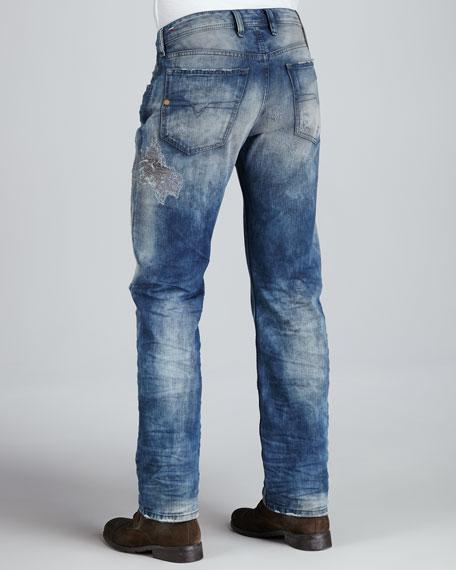 Waykee Straight-Leg Distressed Jeans, Medium Blue