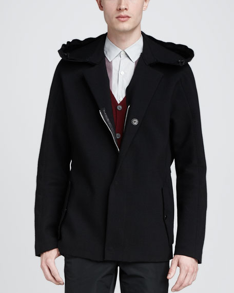 Tweed Coat with Leather Hood, Black