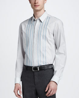 Lanvin Contrast Striped Dress Shirt, Gray/Blue