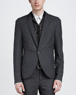 Lanvin Micro-Check English Jacket, Gray
