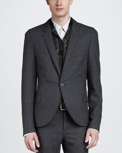 Lanvin Micro-Check English Jacket, Gray