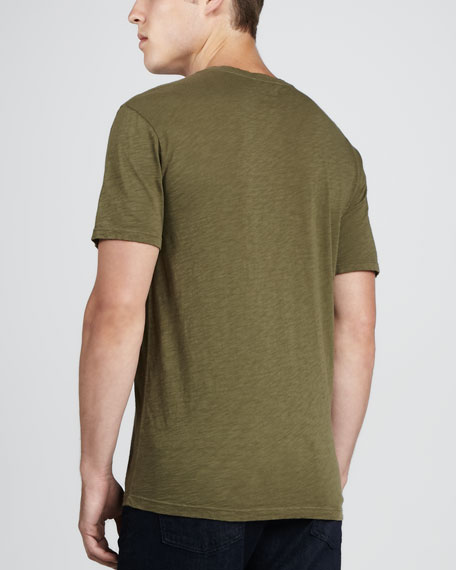 V-Neck Pocket Tee, Dark Olive