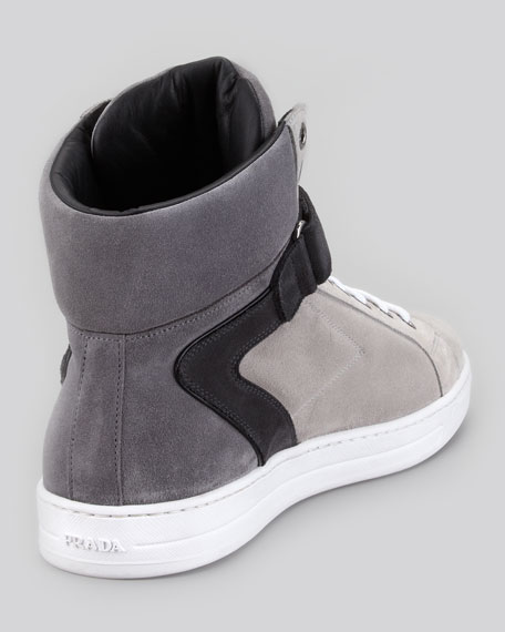 Avenue Suede High-Top Sneaker, Gray Multi