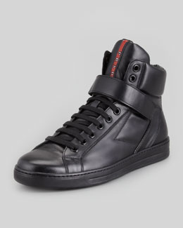 Prada Avenue Leather High-Top Sneaker, Black