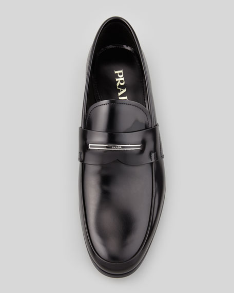 Logo-Inset Leather Loafer, Black