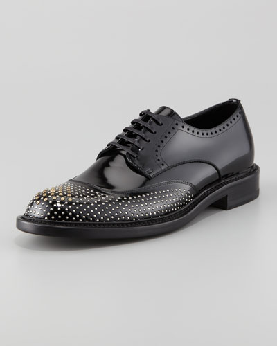 Saint Laurent Derby Lace-Up with Faux Studs, Black