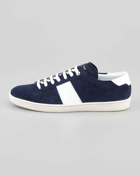 Suede Striped Low-Profile Sneaker