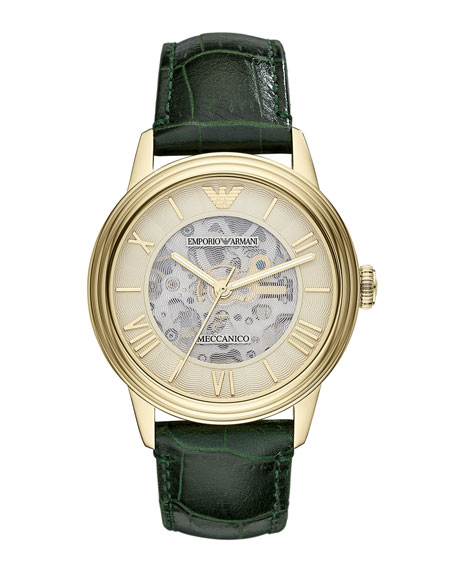 Meccanico Skeleton Watch, Green/Gold