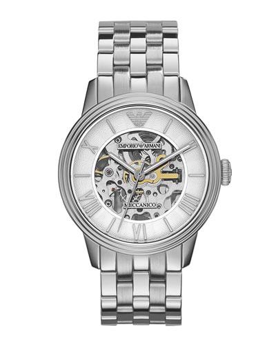 Emporio Armani Meccanico Skeleton Watch, Silver Tone