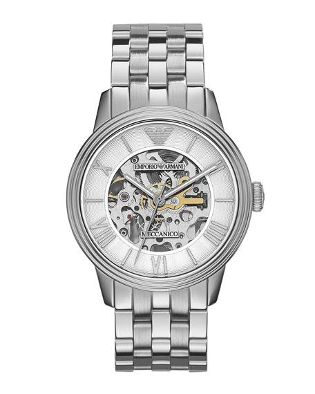 Meccanico Skeleton Watch, Silver Tone