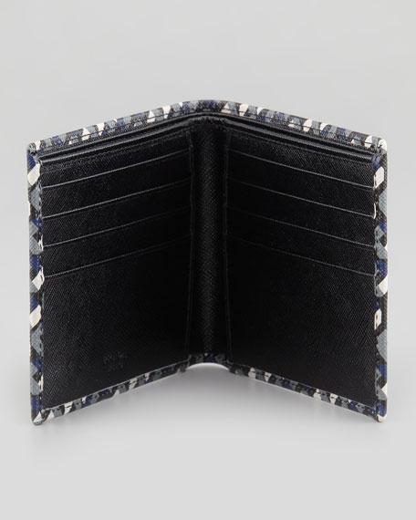 Saffiano Printed Billfold Wallet, Black/White