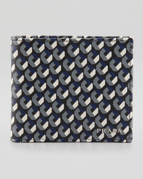 Saffiano Printed Billfold Wallet, Black/White