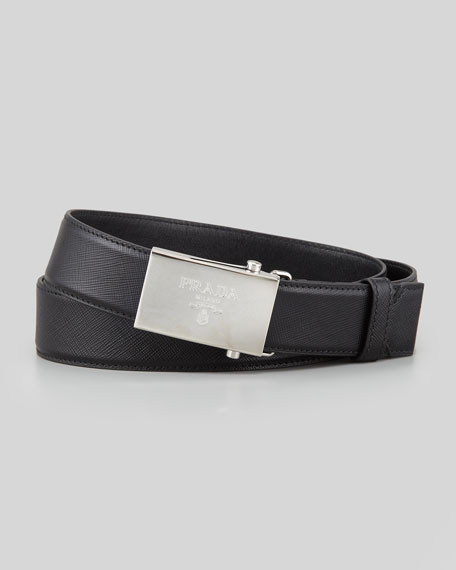 Saffiano Logo-Buckle Belt, Black
