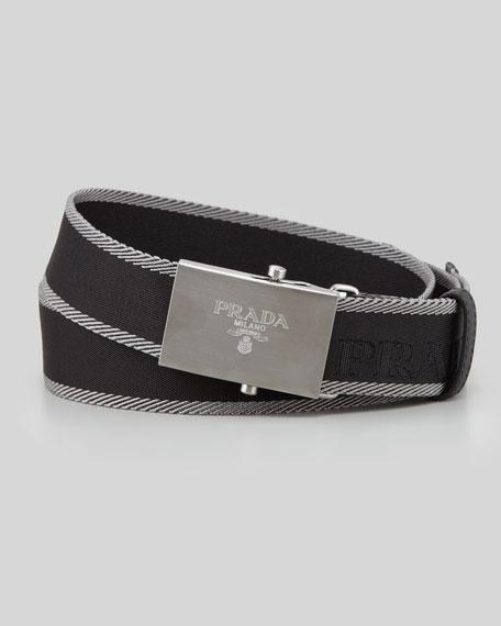 Nastro Logo-Buckle Belt, Black/Gray