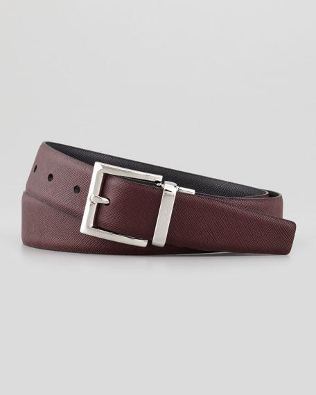 Reversible Saffiano Belt, Black/Red