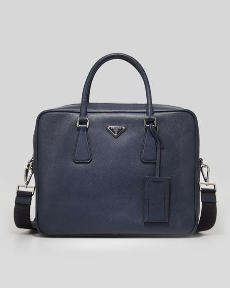 Prada Saffiano Logo Briefcase with Shoulder Strap, Navy