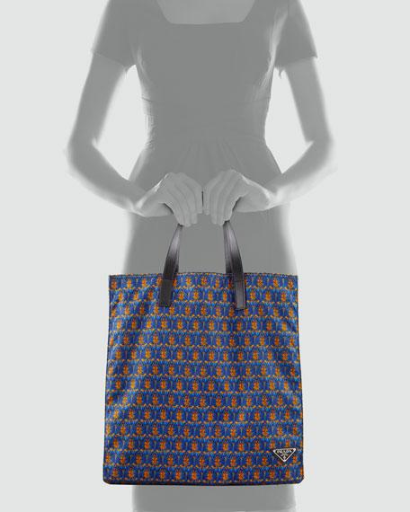 Men's Printed Tessuto Tote Bag, Orange/Blue