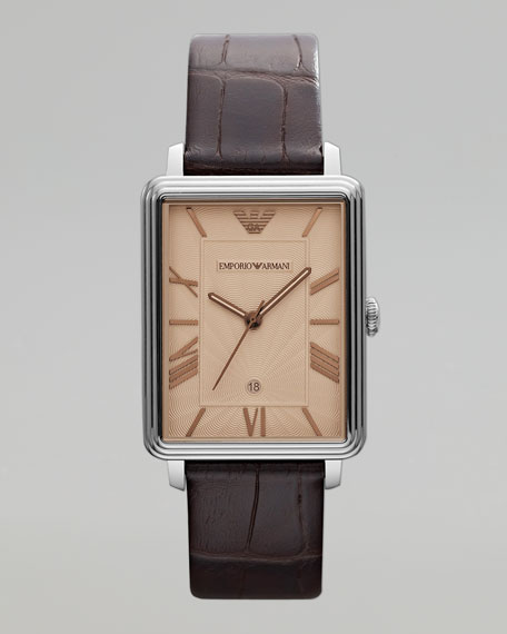 Rectangular Leather Watch, Brown