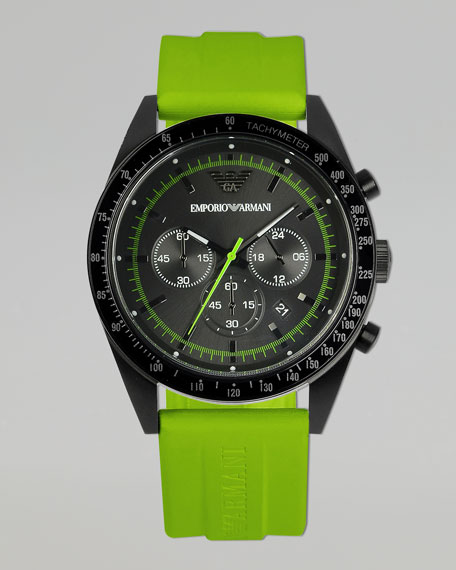 Sportivo Tachymeter Watch, Green Strap
